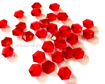 Edible Cake Toppers, Red Cupcake Toppers, Crystals, Red Stone, Cookie Decor, Edible Gemstones, Jewelry, Sugar Diamonds, Edible Diamonds