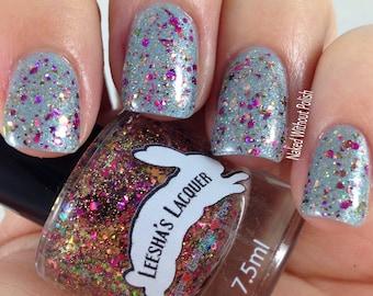 Pink and Gold Glitter Nail Polish, Flakie Indie Nail Polish, Glitter Topper- Animikii - Ojibwe Fairytale Collection