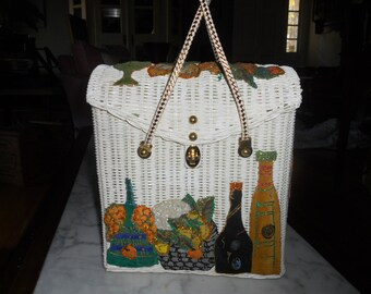 Vintage Midas of Miami White Wicker Box Purse/picnic basket Top handle with Wine Bottle Appliques