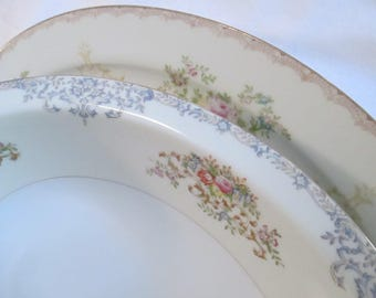 Vintage Mismatched China Serving Dishes, Oval Serving Platter, Oval Vegetable Serving Bowl - Set of 2
