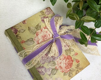 Sage Green and Lilac Wedding Guest Book| Vintage Victorian Botanical Photo Album | Spring Wedding Greenery Scrapbook | Made to order 8.5x6""