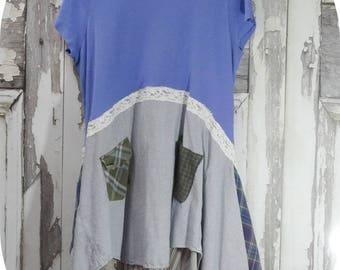 Upcycled Clothing Tunic Dress Plus Size Boho Chic Eco Fashion Junk Gypsy