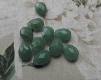 Aventurine briolette beads ,aventurine beads, faceted green beads, green beads