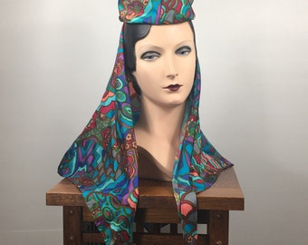 Vintage 1960's Psychedelic Print Headband with Attached Scarf (John Wanamaker)