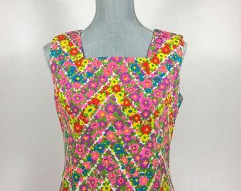 Vintage 1960's Bright Colored Floral Chevron Print Sleeveless Square Neckline Summer Shift Dress, Size S,M
