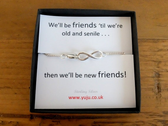 Silver Infinity Bracelet with Quote, Personalised Quote Gift, Stocking Filler for Friend, Friends to Infinity, Best Friend Gift, Bestie Gift