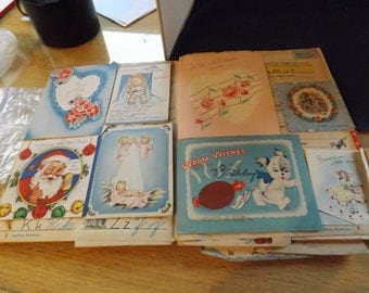 Lot of 51 Vintage Greeting Cards in book