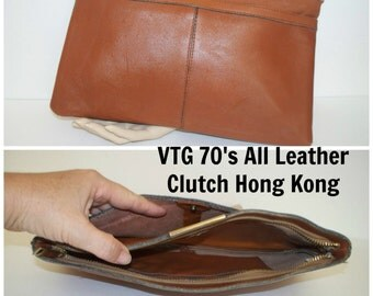 Vintage Boho 1970's Retro Mod Made In Hong Kong Camel Brown All Leather Clutch Handbag Purse / Women's Accessories / Throwback Clutch