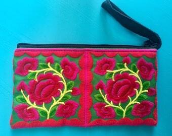 BOHEMIAN EMBROIDERY Hmong Clutch Bag Wristlet Purse
