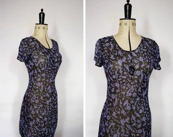 90s dress - 90s midi dress - 90s floral dress - 90s sheer dress - 90s bias dress - 90s bias cut dress - 90s chiffon dress