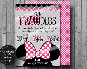 Oh Twodles Invitations Thank you Cards Toodles Minnie Mouse Girls Birthday Party Printable - Pink 5x7 or 4x6 with polka dot reverse backside