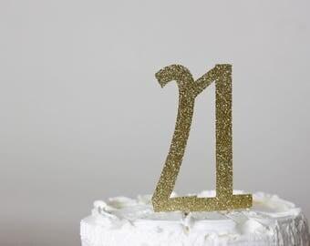 21st birthday cake topper - cake topper - birthday cake topper - glitter gold cake topper - 21st birthday decorations
