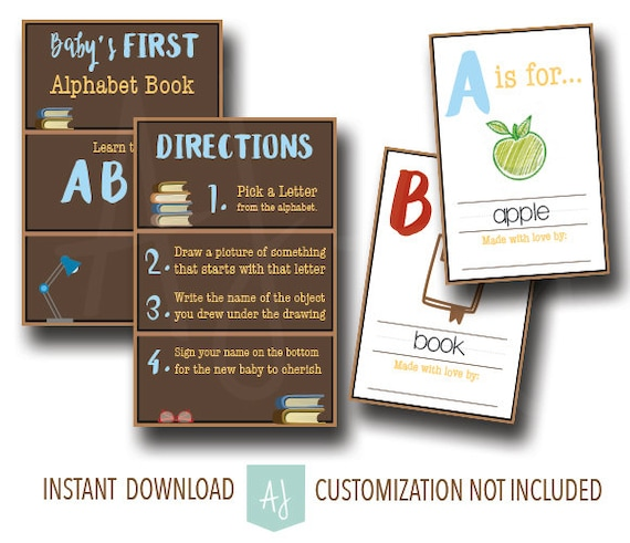 Book Themed Baby Shower Game Babys First Alphabet Book