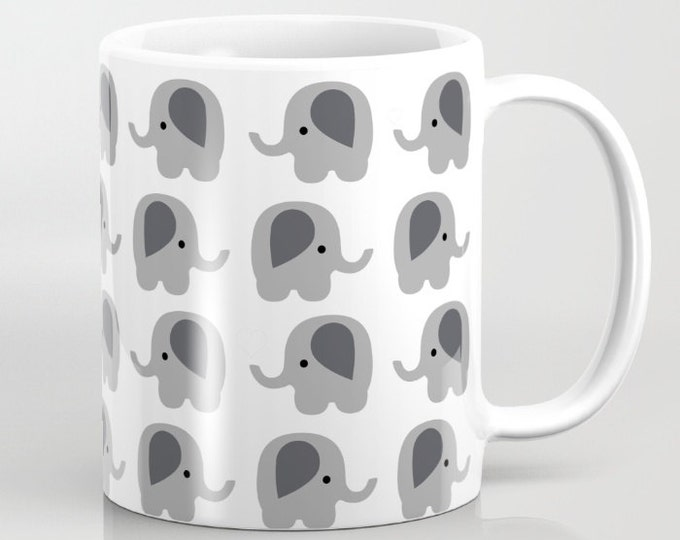 Elephant Coffee Mug - Coffee Cup - Hand drawn Art - 11oz - 15oz - Ceramic Mug - Made to Order