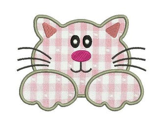 kitty applique embroidery design