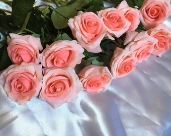 Real Touch Coral Roses Silk Flowers Real Touch For Bridal Bouquet Coral Wedding Centerpieces Wedding Ceremony Reception Decoration