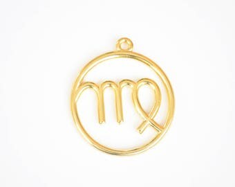 Virgo Pendant, Large Virgo Charm, Gold Zodiac Pendant, 2 pieces