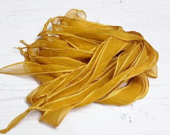 Gold Silk Ribbon  - hand dyed - old gold - golden silk ribbon