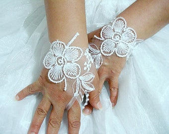 White bridal gloves ,fingerless gloves lace, flower wedding gloves white lace gloves