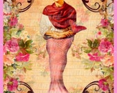 Unique Frida Kahlo Mermaid Fabric Quilting Block Arts Crafts Cotton Material Sewing Applique