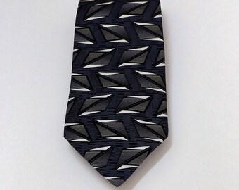 Gianfranco Ruffini Black Blue Tan Gray Cream Geometric Silk Necktie Classic Business Wear Great Gift Idea