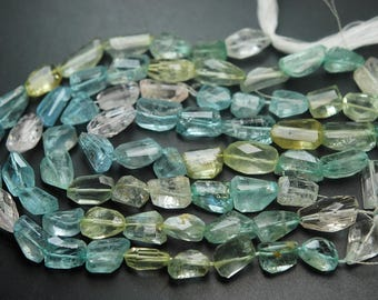 8 Inches Strand,Finest Quality Aquamarine Faceted Nuggets,11-13mm Large