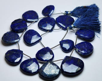 10 Beads,Large Size,Natural Lapis Lazuli Faceted Heart Briolettes,Size 16-23mm approx