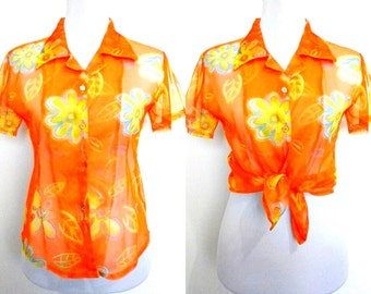 Spring / Summer Sale: sheer orange floral button down top (free size)