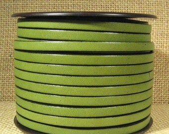 1 Ft TOP Quality 10mm Flat Italian Leather Cord Olive Green/Blk