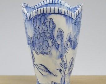 Handmade porcelain vase/ tumble with blue flower pattern