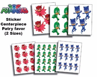 INSTANT DL- Pj Masks  Stickers - centerpiece -  Party Favors -  Printable Labels for Balloons, Treat bags, cups and Boxes
