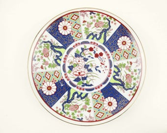 An 'Imari Ware' Plate - Japan - Gorgeous Plate - Lime Green and Navy Blue With Deep Red and Light Blue - Gold Detailing - Decorative Plate