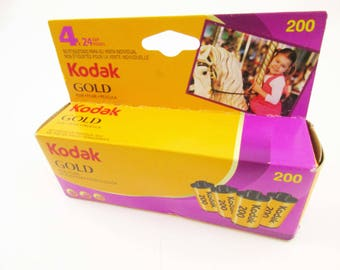 4 Rolls Kodak Gold 35mm Color Film - Stored in Freezer - Unopened Box - Unopened Snap Caps - 4-24 Exp. Rolls of 200 Speed Kodak Gold
