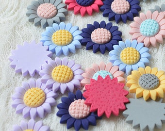 12pcs  Mixed colors Sunflower flowers Resin flat back DIY cabochon 26mm