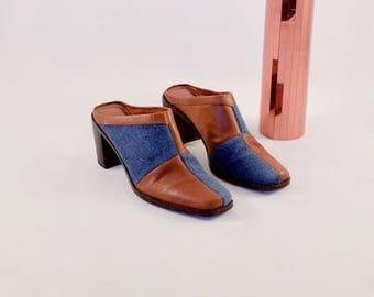 patchwork mules / denim leather mules / patchwork clogs / 6.5 - 37 / denim heels / leather clogs / 90s patchwork heels / slip ons / western
