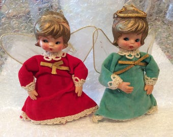2 Antique Christmas Angels Ornaments, plastic and felt, Christmas decor, velvet dresses, Made in Japan, Winged Angels, Holidays