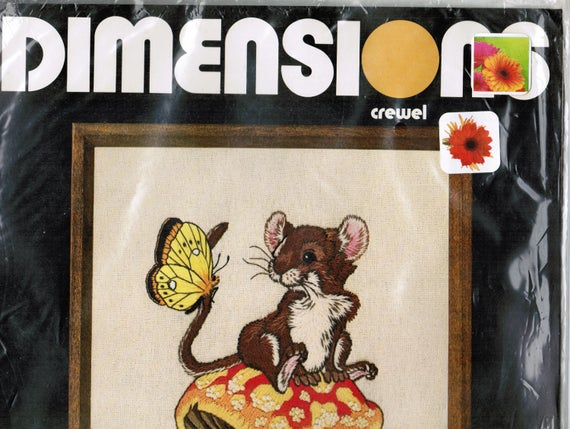 Vintage Crewel Embroidery Stitchery Kit, Dimensions Embroidery Kit, 1978 The Odd Couple Kit #1092, FREE SHIPPING USA