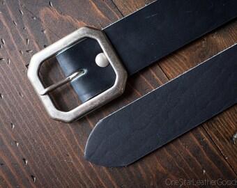 """Custom sized belt - 1.5"""" width - Horween Dublin leather - center bar buckle - cobalt blue"""