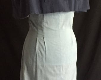 Vintage 1950's Baby Blue Empire Waist Dress With Navy Capelet