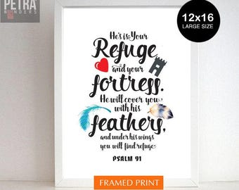 Christian Wall Art, Bible Verse Print,Psalm 91- Christian Wall Art/ Gifts. He will cover you / Biblical Quotes, Bible Quote print.