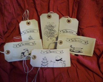 Coffee-dyed, hand-stamped gift tags (nondenominational).  Set of one each of 6 designs shown.
