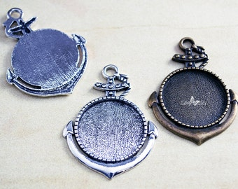 12- 1 inch (25mm) Round Blank Anchor Tray Settings - Nautical Blank Bezel - Navy Theme Bezel Tray - Boating Lover Finding - Lilly D's Crafts