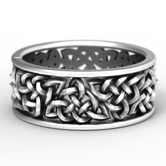 Celtic Wedding Ring With Open Cut-Through Knotwork Design in Sterling Silver, Made in Your Size 1140