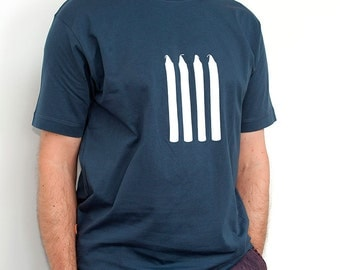 Four Candles Mens T-Shirt/ Soft cotton/ Denim blue/  British Comedy/ Two Ronnies/ Father's Day/ Dad Birthday/ Grandad Gift