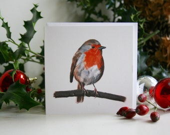 Square blank greetings cards of a Robin drawn by Imogen Man