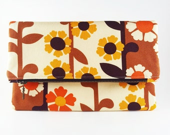Floral Purse, Clutch Purse, Foldover Clutch, Handbag, Gift For Her, Birthday Gift, Retro Purse