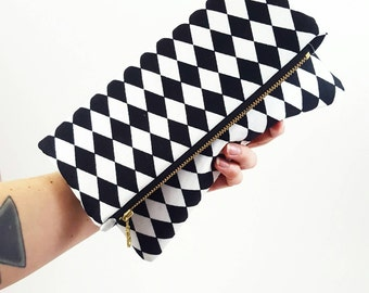 Harlequin Purse, Harlequin Clutch, Harlequin Handbag, Gift For Her, Bridesmaid Gift, Retro Purse