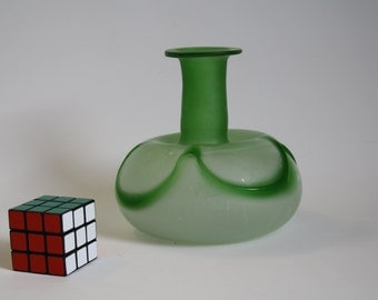 Delicate mouth blown light green glass vase