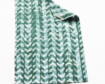 Teal Green Chevron Tea Towel- Handprinted Batik Linen Kitchen Towel