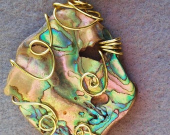 Abalone Pendant with gold filled wire wrap